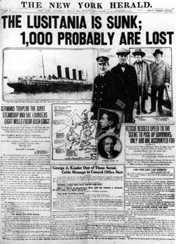 Sinking of the Lusitania on May 7, 1915