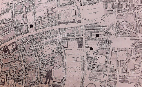 Old Street area showing the Bunhill Fields Burying Grounds.