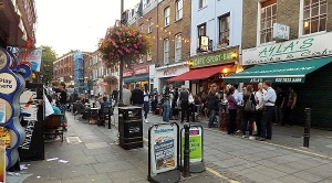 Exmouth Market with outside seating for nearly every pub and restaurant